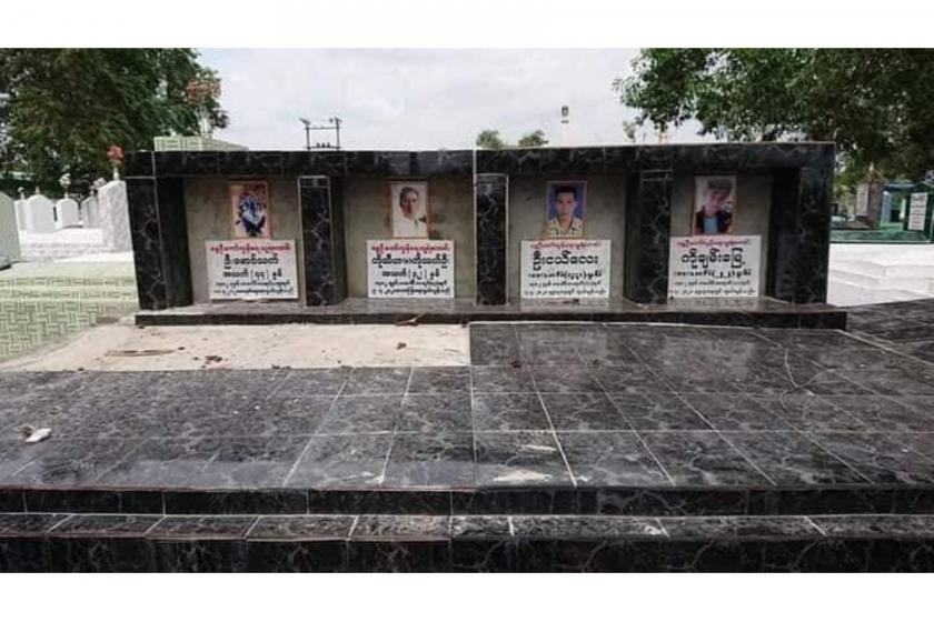 The monument marking a shared gravesite for 12 protesters in Bago's Sinphyukin cemetery before it was destroyed by regime troops