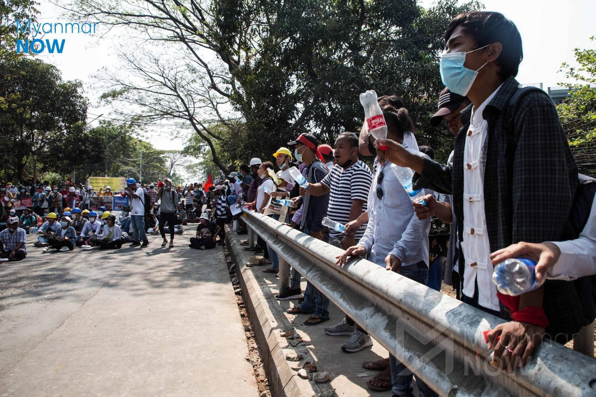 Anti-coup protesters seen in Yangon in late February (Myanmar Now)