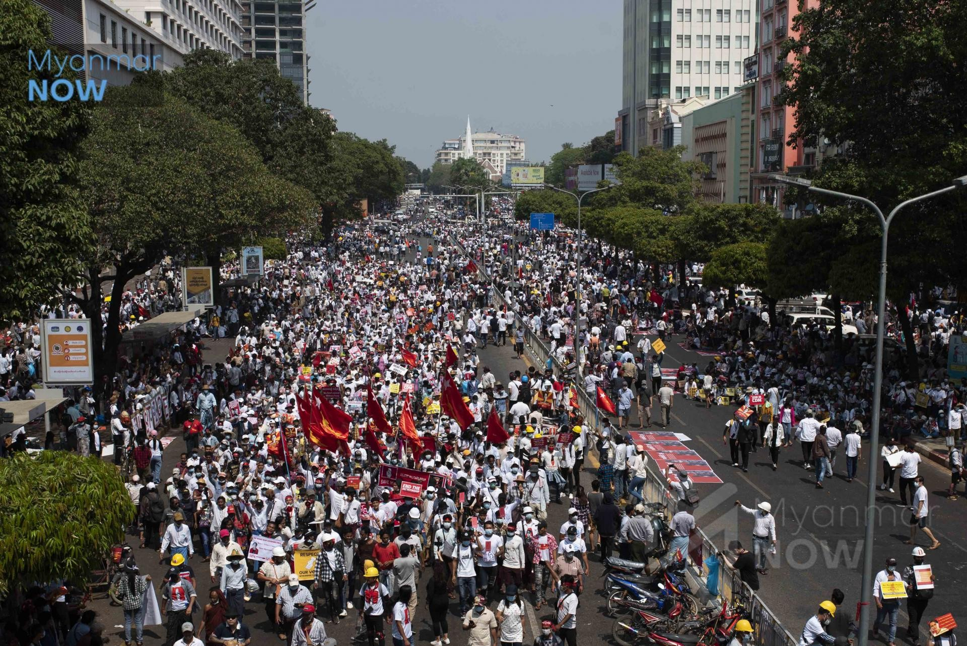 Huge numbers of protesters have turned out around the country to demand an end to military rule