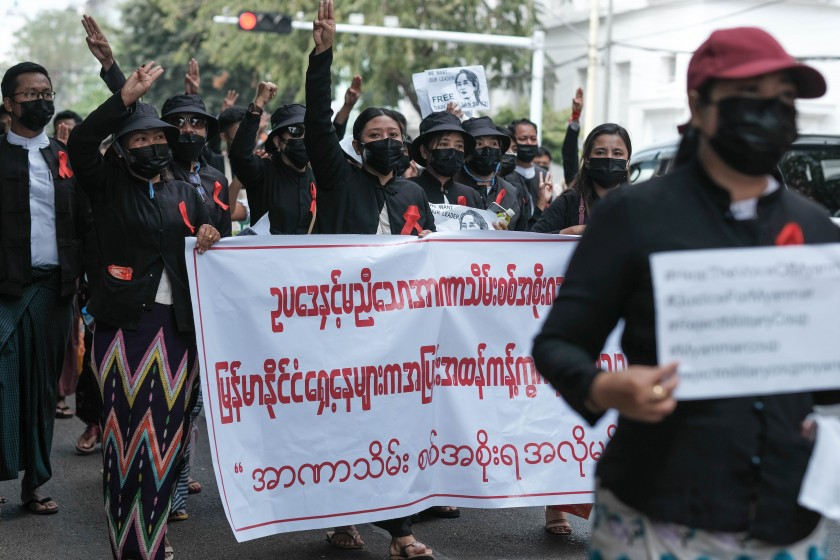Lawyers march in an anti-dictatorship protest in Yangon on February 8 (Myanmar Now)