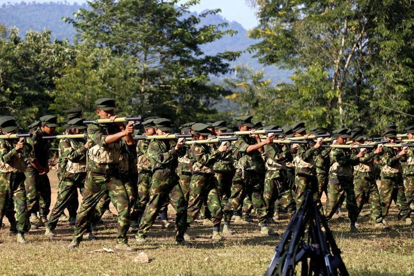 KIA troops attend training at the group's headquarters in Laiza, Kachin State, in November 2017 (EPA-EFE)