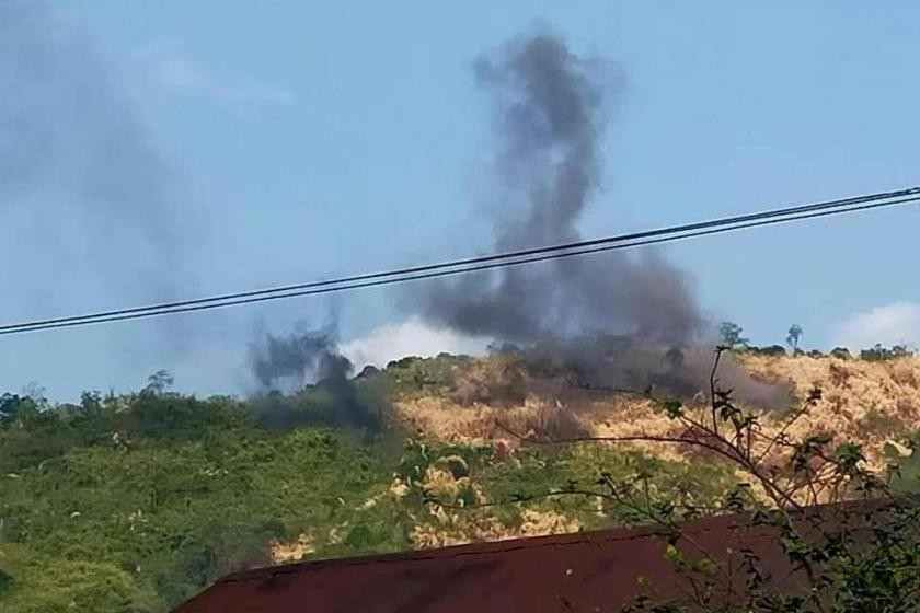 Smoke rises from the area where the clash between the KIA and the military happened in Momauk, Kachin (Supplied)