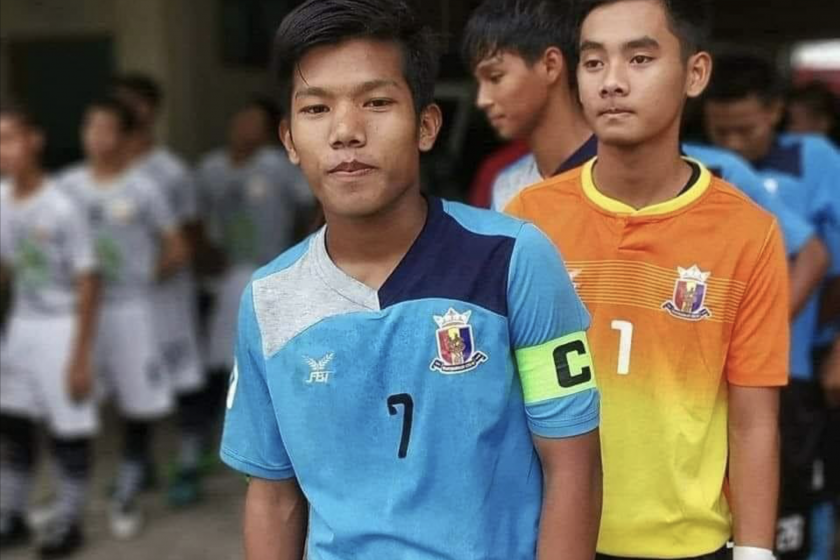 A passionate footballer, Chit Bo Bo Nyein (center) abandoned the game he loved to join the struggle against military rule