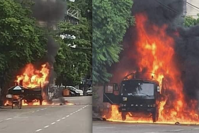 Army truck was fully blown up by an explosion in Yangon's Township on Friday afternoon (CJ)